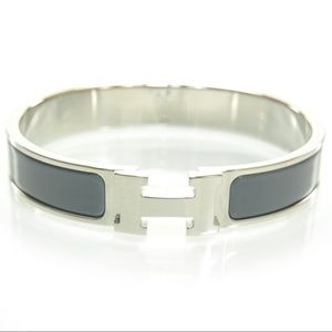 Hermès Grey Narrow Clic Clac H cuff bracelet